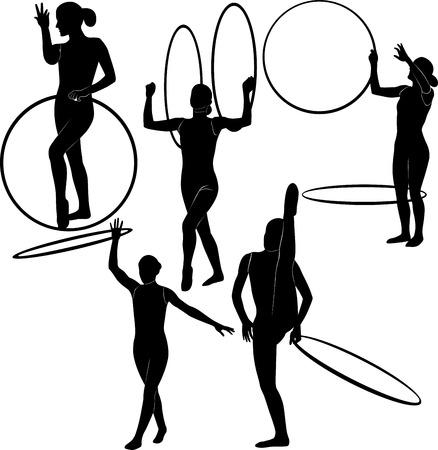 gymnast with a hoop Vector