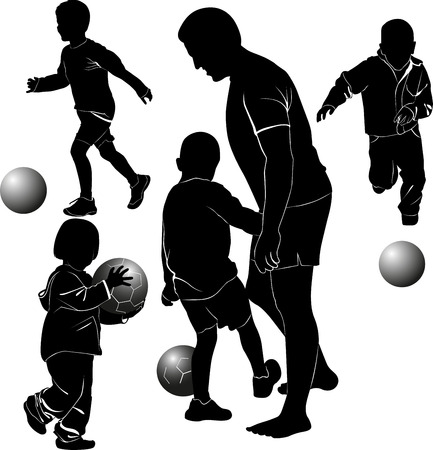 children playing ball Vector