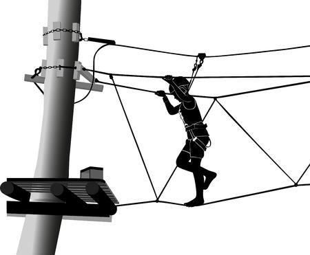 rope ladder: chico de aventura escalera de cuerda parque