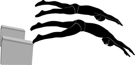 swim race: nadadores atletas Vectores