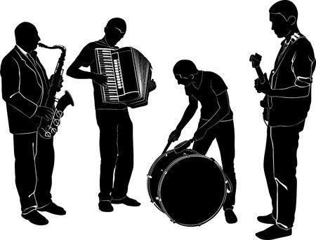 acordeon: músicos silueta ilustración Vectores