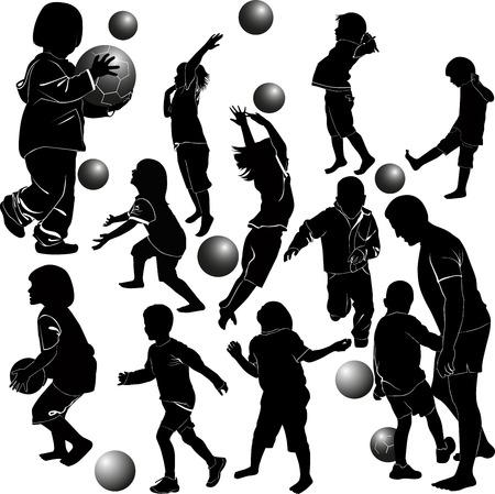 children playing ball Vector