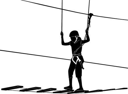 kinderen in avonturenpark touwladder
