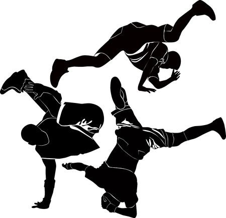 bailarines silueta: breakdance break dance silueta Vectores