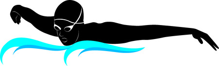 swimming silhouette: swimmers athletes