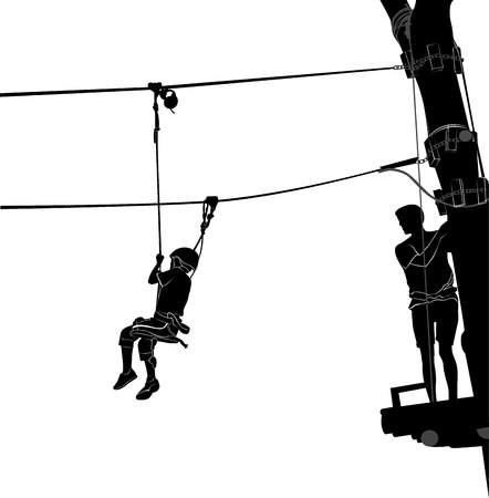 on the ropes: children in adventure park rope ladder
