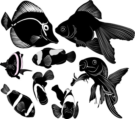 poissons d'aquarium marin Vecteurs