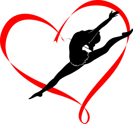 dancing silhouettes: gymnastics logo Illustration