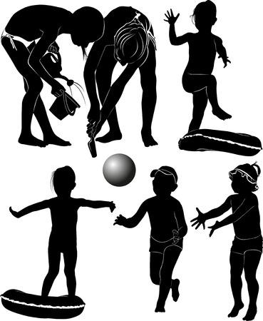 maillot de bain: enfants sur la plage  Illustration
