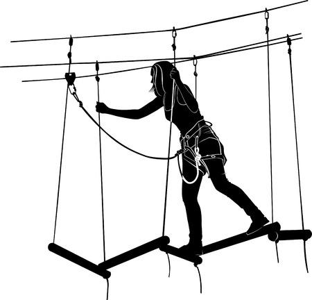 rope ladder: children in adventure park rope ladder