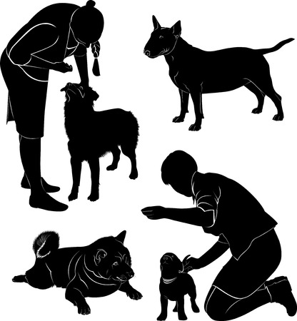 People and dogs Illustration