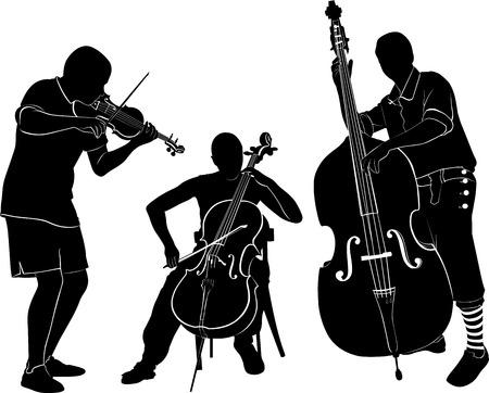Musiker spielen auf der Violine und Cello Bass