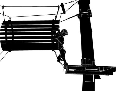 ladder safety: children in adventure park rope ladder