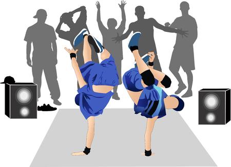 breakdance: Guys dancers breakdance street