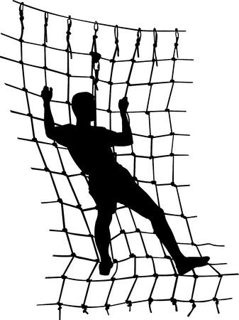 rope ladder: boy in adventure park rope ladder Illustration