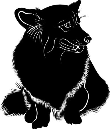 pembroke: Cardigan Welsh Corgi. Welsh Corgi. Silhouette of a dog of breed Pembroke Welsh Corgi. Vector stylized line drawing of pembroke welsh corgi. Illustration
