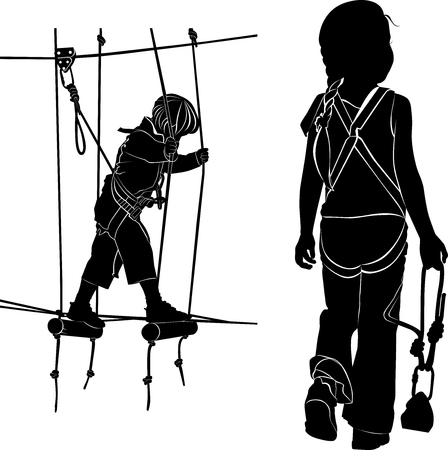 rope ladder: children in adventure park rope ladder. children have a rest in the ropes course. vector black silhouette isolated on white background