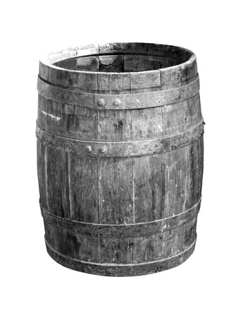 wooden barrel: wooden barrel Isolated on White Background Stock Photo