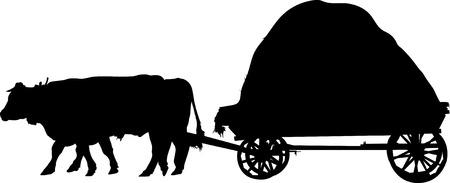 bullock: agricultural farm animals bulls a cart Illustration