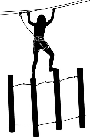 rope ladder: adventure park. Woman on cables in an adventure park on a difficult course vector black silhouette isolated on white background Illustration