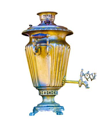 samovar: samovar. Vintage metal samovar.  housewares. samovar an isolated.