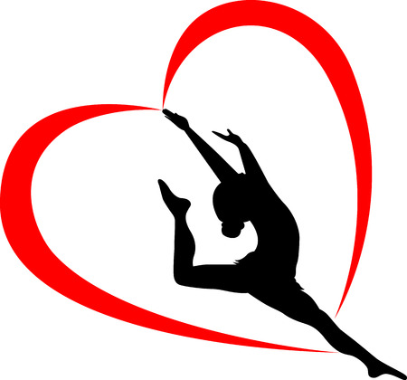 Gymnast athlete illustration in the form of heart.