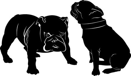 two: Dog Bulldog. The dog breed bulldog.Dog Bulldog black silhouette vector isolated on white background. Dog pug. Meeting two dogs of a bulldog and a pug