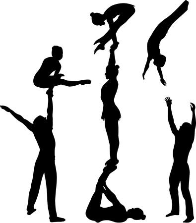 곡예 스턴트. Gymnasts 벡터 실루엣 검은 실루엣. 체조 선수 곡예 비행 벡터 일러스트