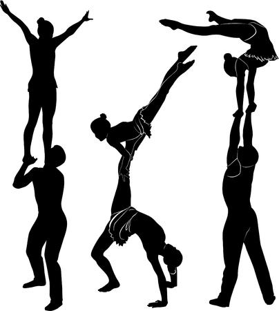 Gymnasts acrobats vector black silhouette.