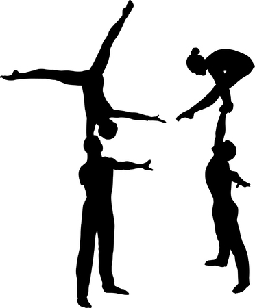 Gymnasts acrobats vector isolated on white background.