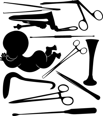 silhouettes of gynecological tools isolated on white background Illustration