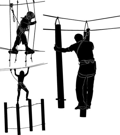 Set von Silhouetten in einem Seilpark Vektorgrafik