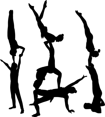 Gymnasts acrobats vector black silhouette Illustration