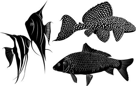 set of fish silhouettes