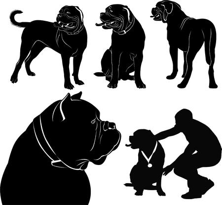 chien de bordeaux ensemble de silhouettes de chiens Vecteurs