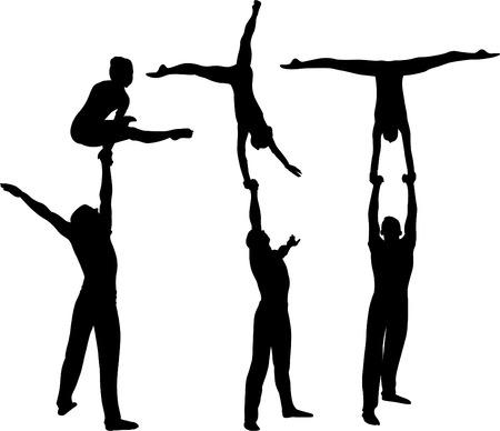 Gimnastycy akrobaci wektor czarna sylwetka Ilustracje wektorowe