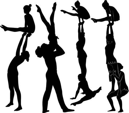 cascade acrobatique. Les gymnastes acrobates vector silhouette noire.