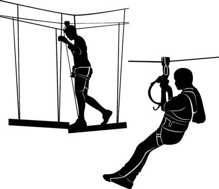 children in adventure park rope ladder. Sport weekend action