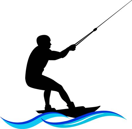 waterskiing, Water ski silhouette with wave