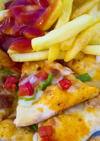 fast food pizza french fries large plan