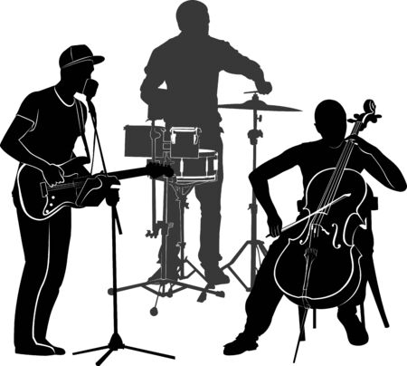 musicians performance vector silhouette on a white background