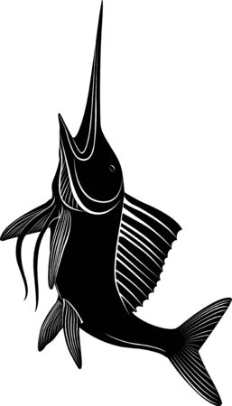 marlin fish vector silhouette isolated on white background Ilustracja
