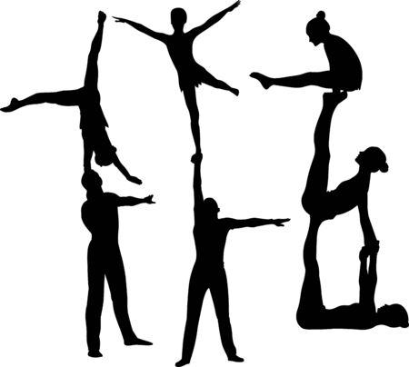 Gimnastycy akrobaci wektor czarna sylwetka