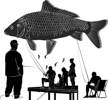 fishing people silhouettes collection. People catch fish Ilustracja