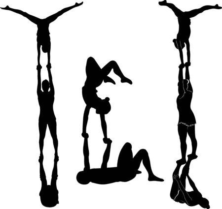 Gymnasts acrobats vector black silhouette Vektorové ilustrace