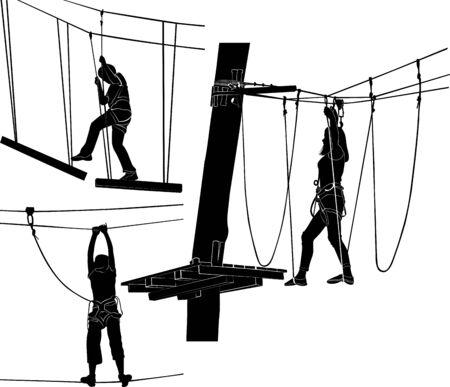 silueta de aventura. personas en la ilustración de vector de parque de cuerdas. gente caminando por la cuerda