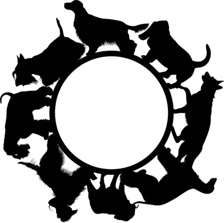 circle shape with dogs vector on a white background
