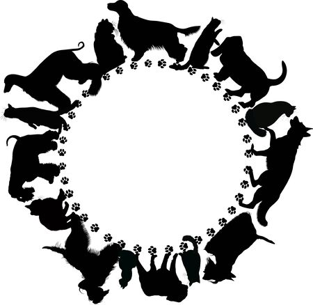 circle shape  with dogs and cats vector on a white background