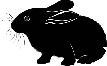 animal bunny. hare vector black silhouette