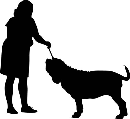 Neapolitan mastiff dog with a dog handler at an exhibition. vector